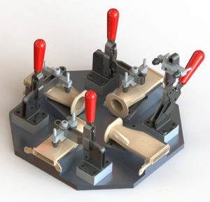 A 3D model of a holding fixture, again designed to hold parts for assembly.